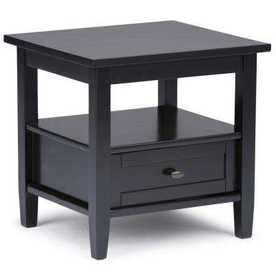 Warm Shaker Solid Wood 20 in. Wide Rustic End Side Table in Black