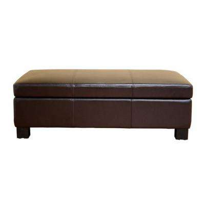 Gallo Traditional Brown Leather Upholstered Ottoman