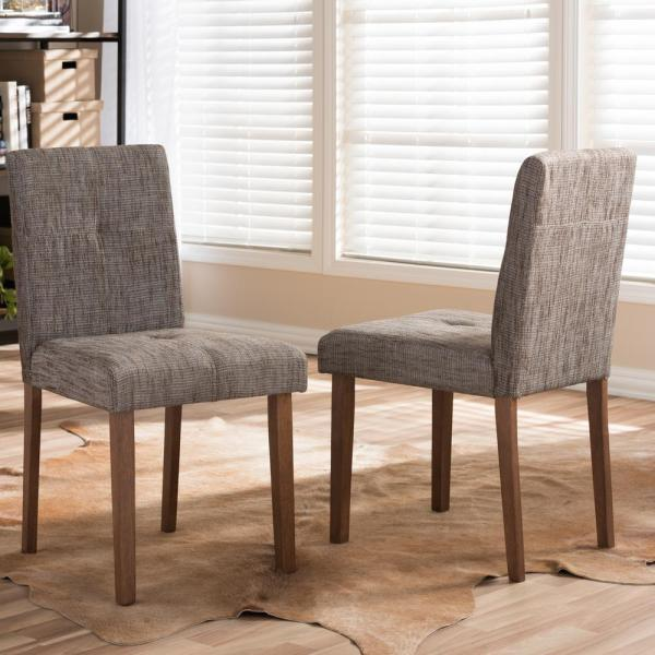 Baxton Studio Elsa Gray Fabric Upholstered Dining Chairs (Set of 2)