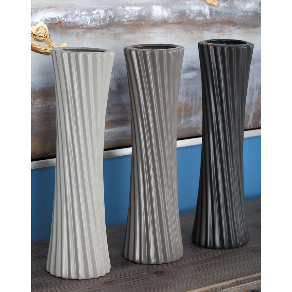 23 in. Semi-Hourglass Ceramic Decorative Vases in Gray, White and Black