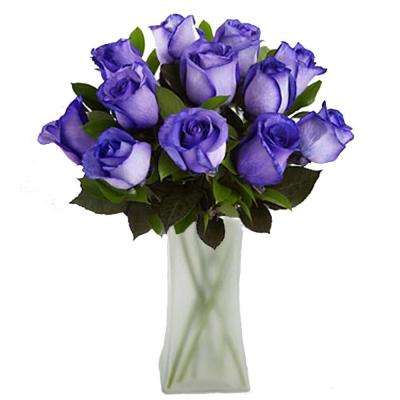 Gorgeous Deep Purple Rose Bouquet in Clear Vase (12 Stem) Overnight Shipping Included