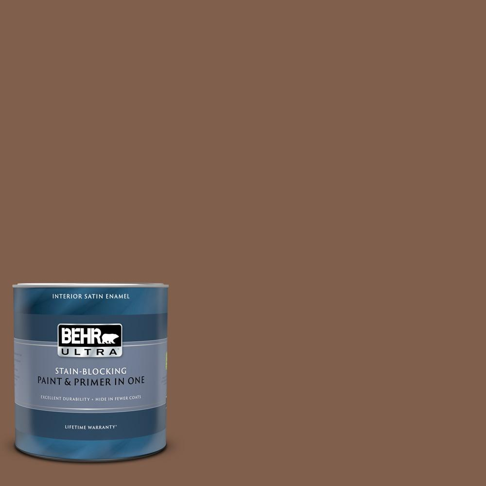 Behr Ultra 1 Qt Hdc Sp14 6 Tilled Earth Satin Enamel Interior Paint And Primer 775304 The Home Depot