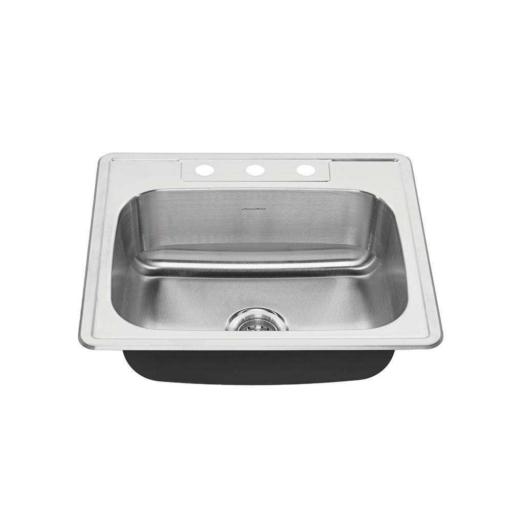 American standard colony pro drop in stainless steel 25 in 3 hole single bowl kitchen sink kit - American standard kitchen sink ...