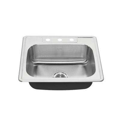 Colony Pro Drop-in Stainless Steel 25 in. 3-Hole Single Basin Kitchen Sink Kit