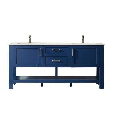 Grayson 72 in. Bath Vanity in Blue with Manufactured Stone Vanity Top in White with White Basins