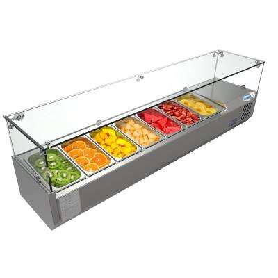 59 in. W 7-Pan 1 cu. ft. Commercial Countertop Refrigerator Condiment Prep Station in Stainless Steel