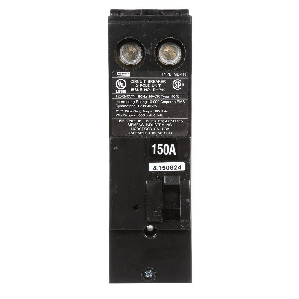 150 Amp Double-Pole 10 kA Type MD-T Reverse Handle Circuit Breaker