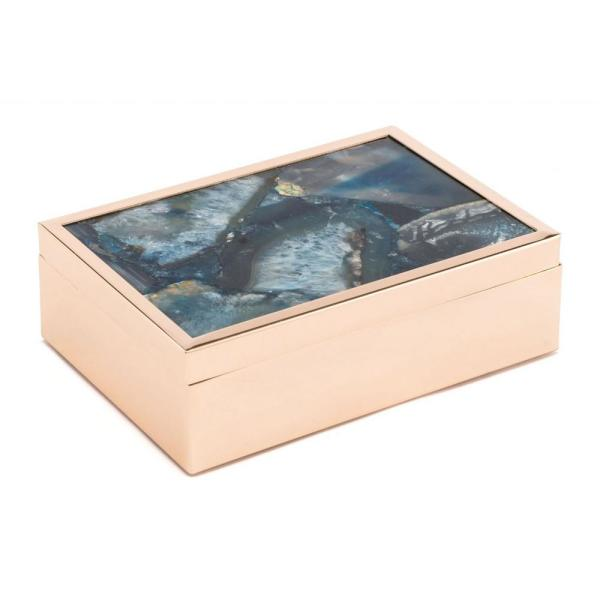 Homeroots Julia Abstract Blue Printed Glass Steel Stone Box Large 364808 The Home Depot