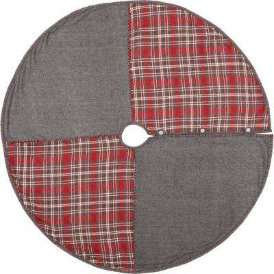55 in. Anderson Cherry Red Rustic Christmas Decor Patchwork Tree Skirt