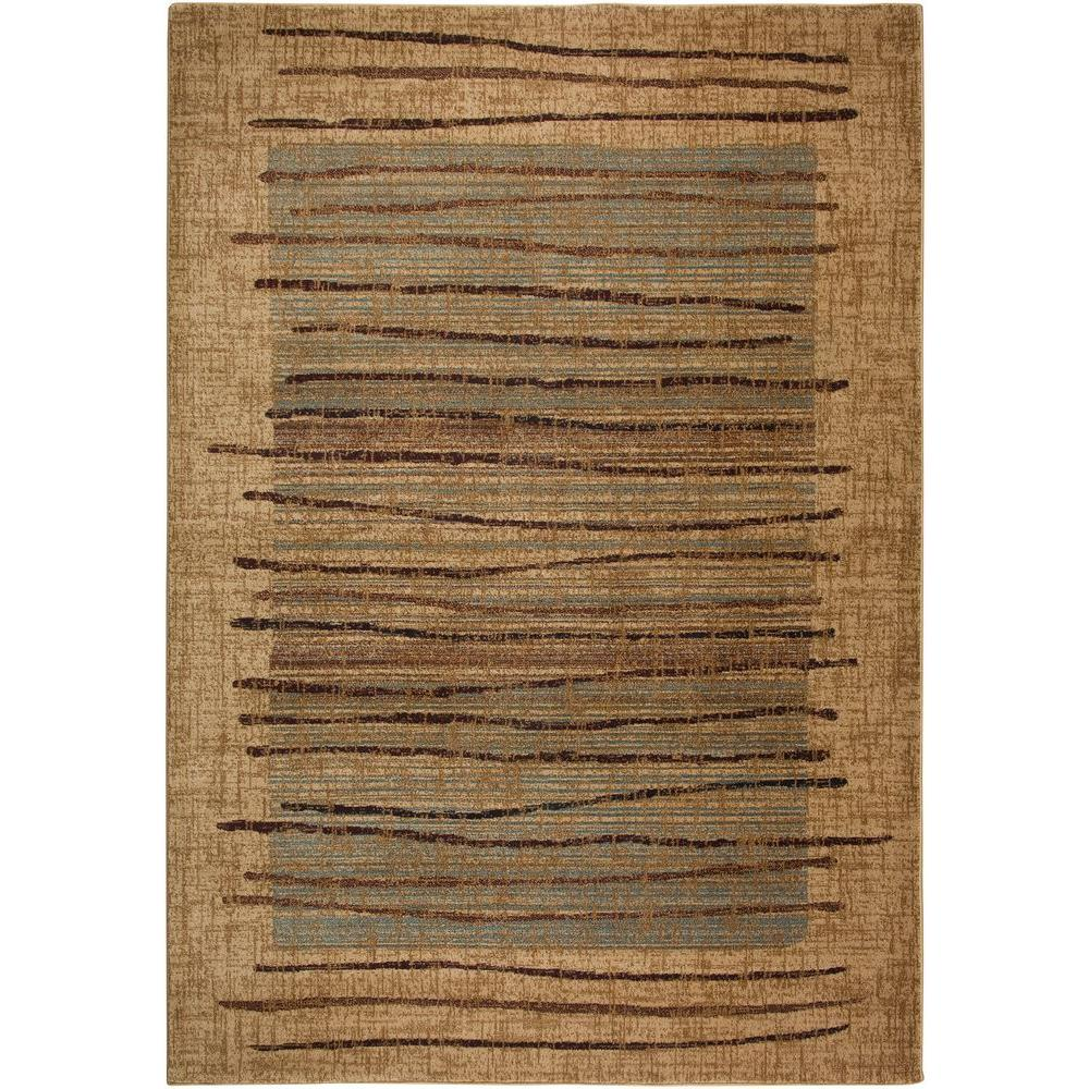 Bellevue Collection Beige Striped 1 ft. 8 in. x 2 ft.