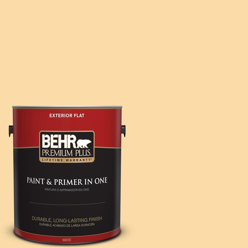 BEHR Premium Plus 1-gal. #M290-3 Corn Stalk Flat Exterior Paint