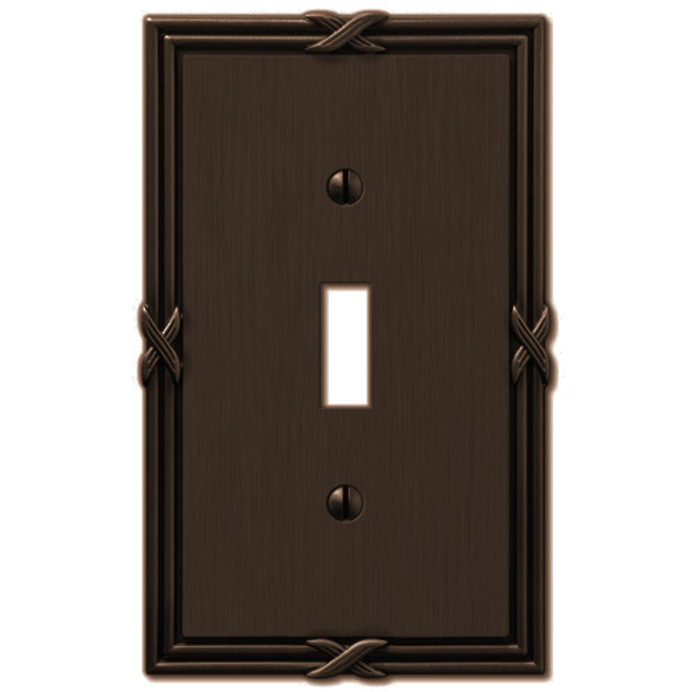 Amerelle Ribbon and Reed 1 Toggle Wall Plate - Aged Bronze