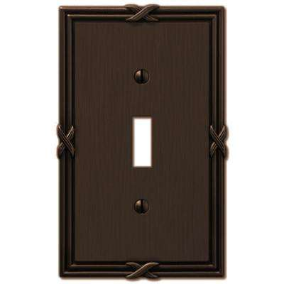 Ribbon and Reed 1 Toggle Wall Plate - Aged Bronze