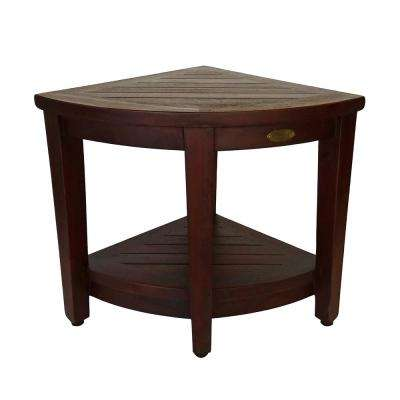 Oasis Teak Corner Shower Bench with Shelf