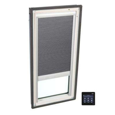 21 in. x 26-7/8 in. Fixed Deck-Mount Skylight with Tempered Low-E3 Glass and Grey Solar Powered Room Darkening Blind