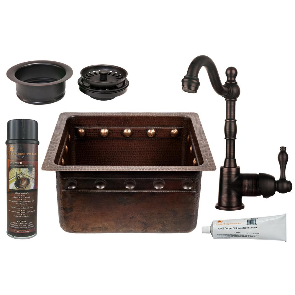 All-in-One Dual Mount Copper 16 in. Single Bowl Barrel Strap Kitchen