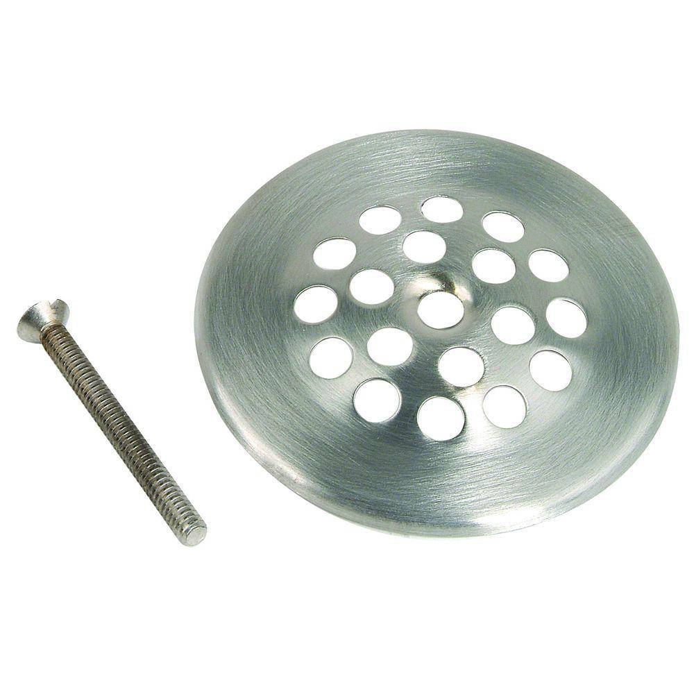 Tub Drain Grill with Screws, Gerber-Type in Satin Nickel