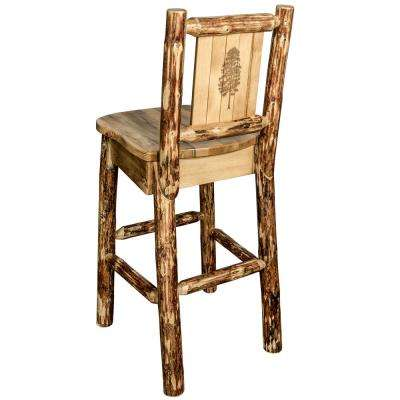 Glacier 30 in. Laser Engraved Pine Motif Bar Stool