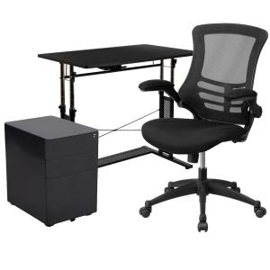 40 in. Rectangular Black Engineered Wood 3-Drawer Computer Desk with Keyboard Tray
