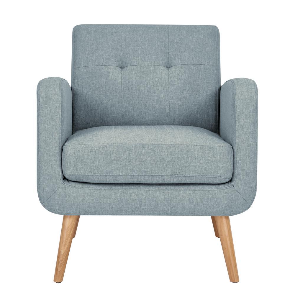 Kingston light blue textured linen mid century modern arm chair