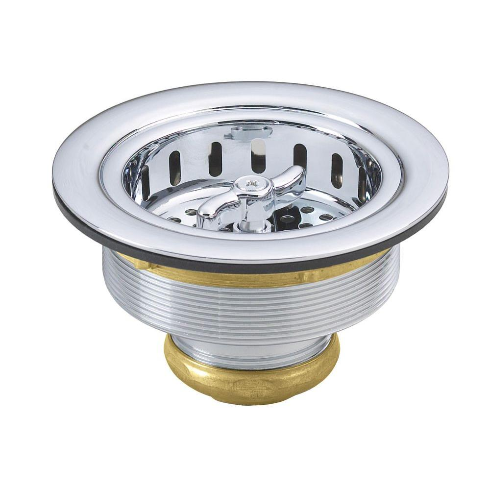 Westbrass 3 3 8 in brass wing nut style kitchen sink for 3 kitchen sink strainer