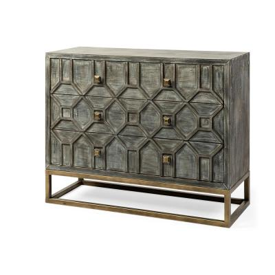 Genevieve I 39L x 15.7W x 30.9H Brown Solid Wood and Brass Three Drawer Accent Cabinet