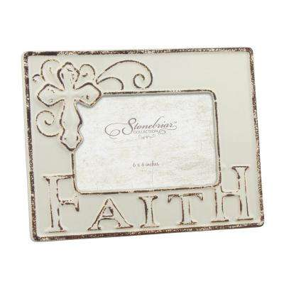 1-Opening 6 in. x 4 in.Worn White Ceramic Faith Picture Frame