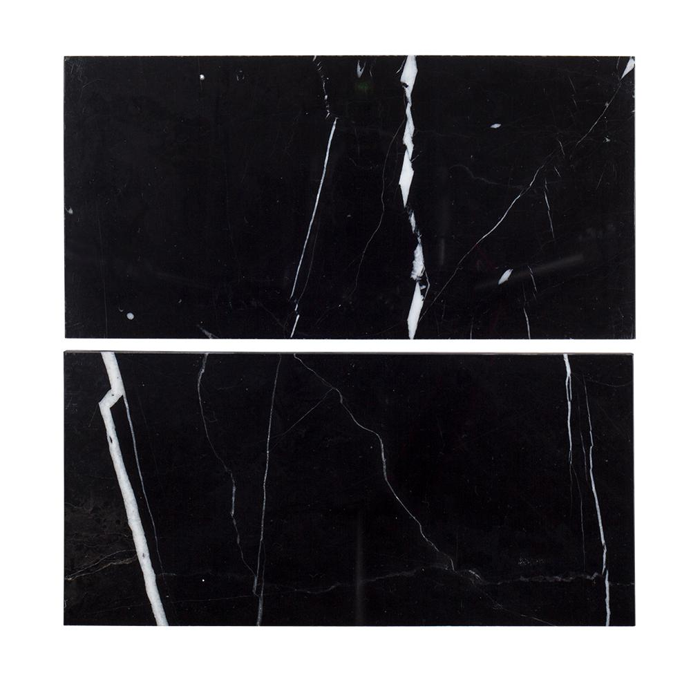 Jeff Lewis 6 in. x 12 in. Nero Marquina Polished Marble Field Wall Tile (2-pieces / pack)