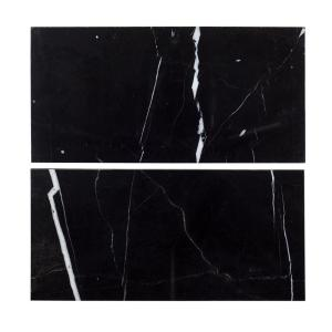 6 in. x 12 in. Nero Marquina Polished Marble Field Wall Tile (2-pieces / pack)