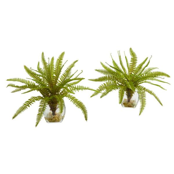 Nearly Natural Indoor 8 Fern Artificial Plant in Vase (Set of
