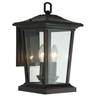 2-Light Oil Rubbed Bronze Outdoor Wall Mount Sconce with Clear Glass Shade