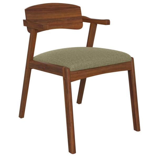 Handy Living Richman Mid Century Modern Dining Arm Chairs W Cherry Finished Back Upholstered Seat Cushion In Tan Fabric Set Of 2 A158435 The Home Depot