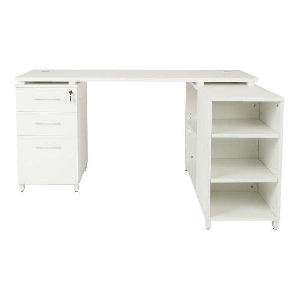 OSP Home Furnishings Prado L-Shape Office Group with Storage in White