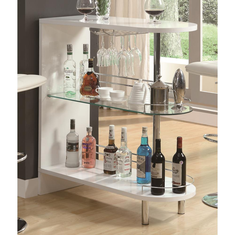 Bar Units Contemporary White Glossy Bar Table with 2-Shelves