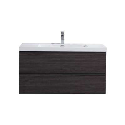 Bohemia 42 in. W Bath Vanity in Dark Gray Oak with Reinforced Acrylic Vanity Top in White with White Basin