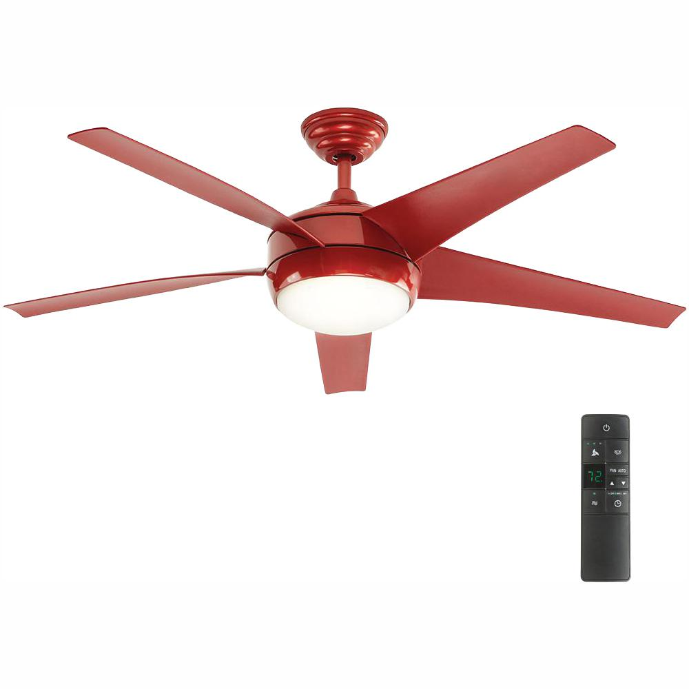 Home Decorators Collection Windward IV 52 in. LED Indoor Red Ceiling Fan with Light Kit and Remote Control