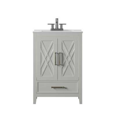 Hamilton 24 in. D x 18 in. W x 34 in. H Bath Vanity in White with Vanity Top in White and White Basin