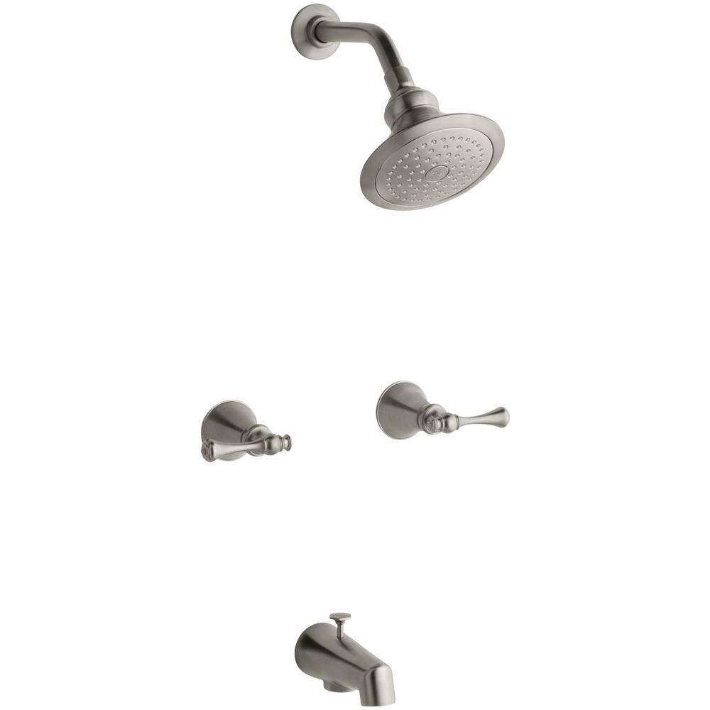 one piece shower faucet. Revival 2 Handle 1 Spray Tub and Shower Faucet in Vibrant Brushed Nickel The Home Depot
