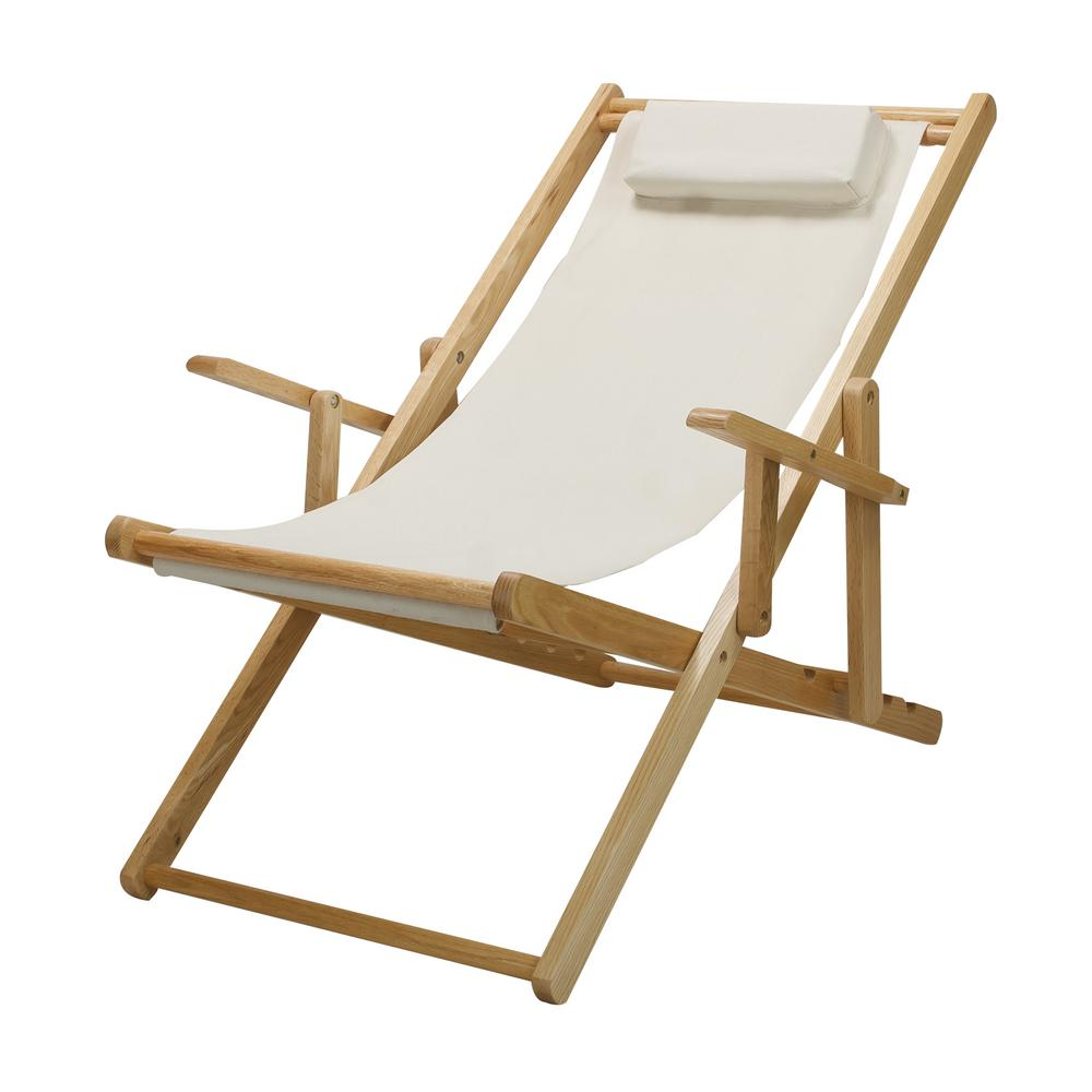 Casual Home Natural Frame And Natural Canvas Solid Wood Sling Chair