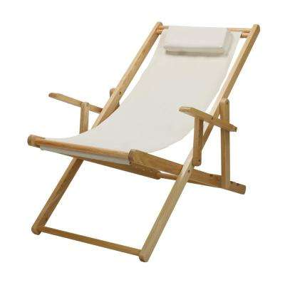 Natural Frame and Natural Canvas Solid Wood Sling Chair
