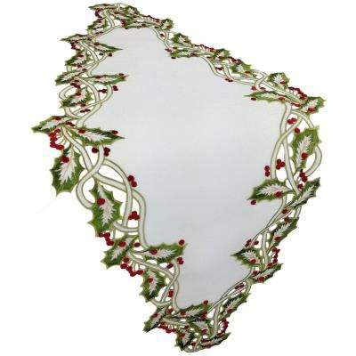 15 in. x 54 in. White Holiday Holly Embroidered Cutwork Table Runner