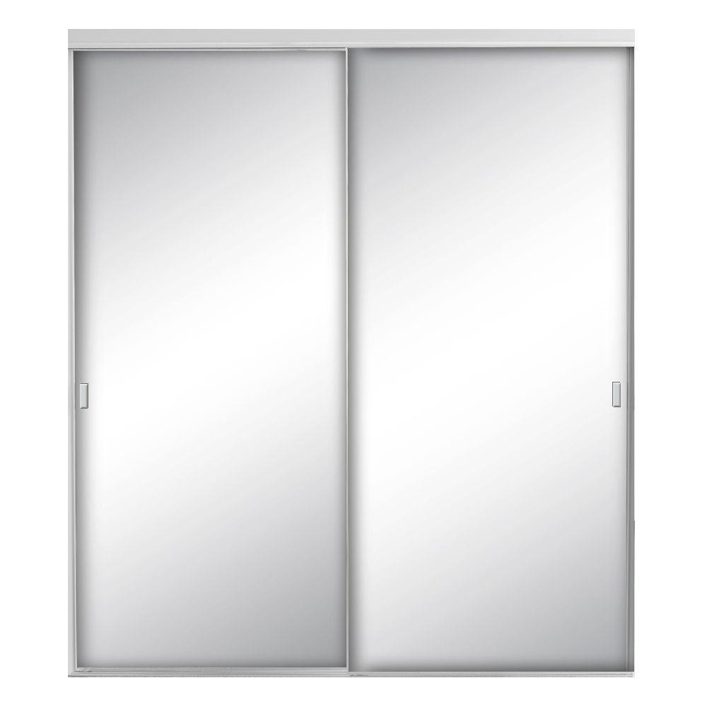 Contractors Wardrobe 72 in. x 80-1/2 in. Style Lite Satin Clear Mirror Aluminum Framed Interior Sliding Door