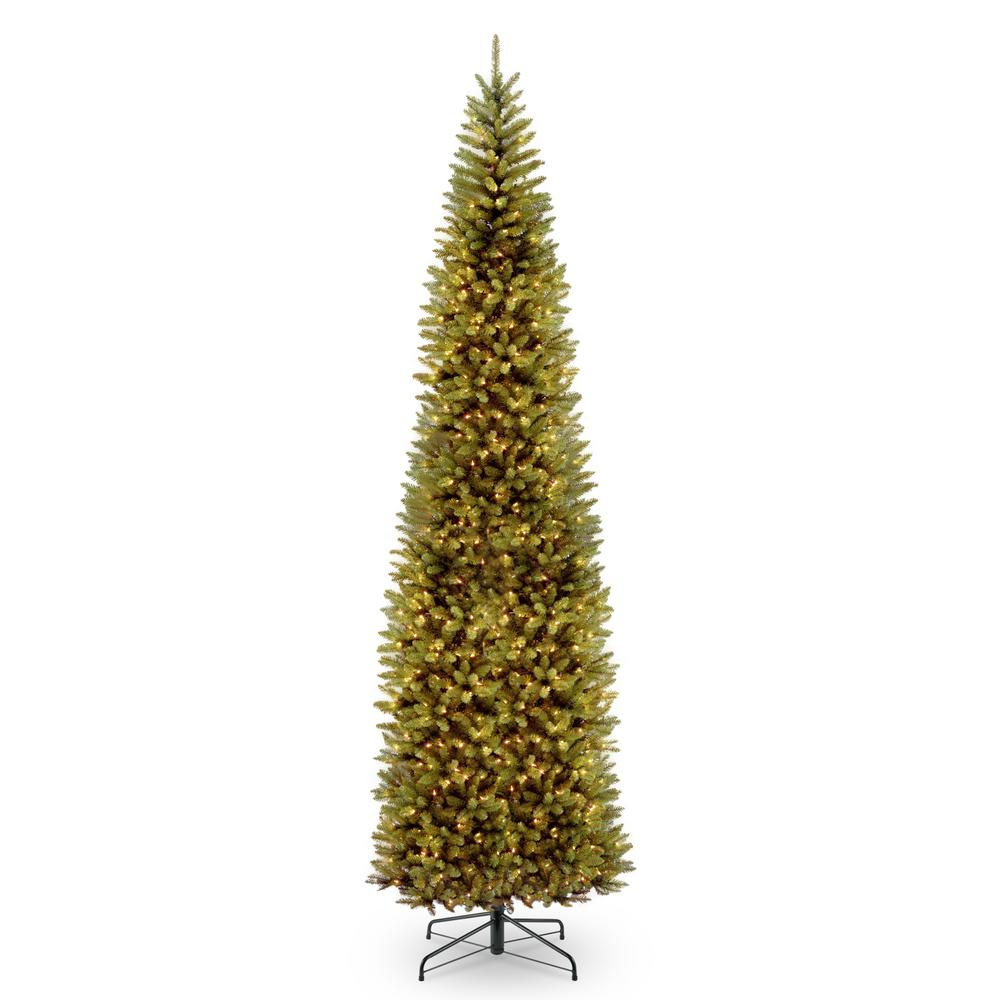 national tree company 12 ft kingswood fir pencil tree with clear lights kw7 300 120 the home. Black Bedroom Furniture Sets. Home Design Ideas
