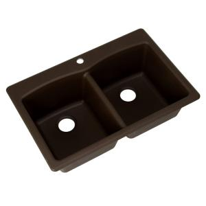 Franke Dual Mount Composite Granite 33x22x9 1-Hole Double Bowl Kitchen Sink in Mocha by Franke