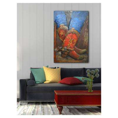 "31 in. x 47 in. ""Red Boots"" Metal Wall Art"