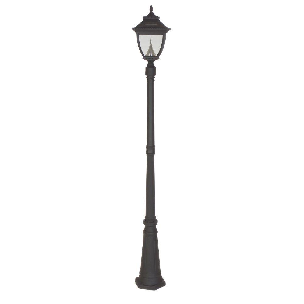 Outdoor Electric Lamp Post: Gama Sonic Pagoda Solar Black Outdoor Lamp Post-GS-104S
