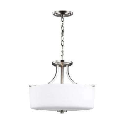 Canfield 3-Light Brushed Nickel Semi-Flush Mount