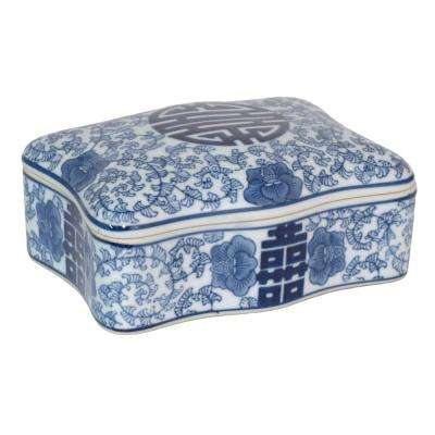 Ceramic Blue and White Box with Lid