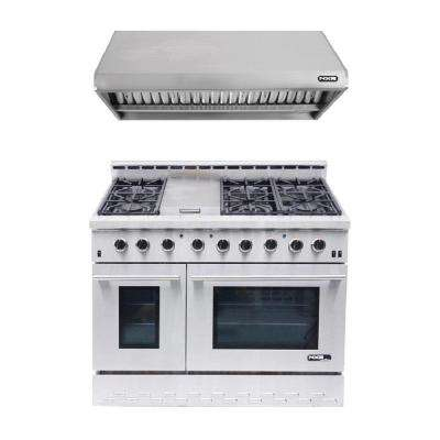 Entree Bundle 48 in. 7.2 cu. ft. Pro-Style Gas Range with Convection Oven and Range Hood in Stainless Steel and Black