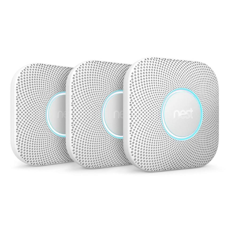 Nest Protect Battery Smoke And Carbon Monoxide Detector 3 Pack